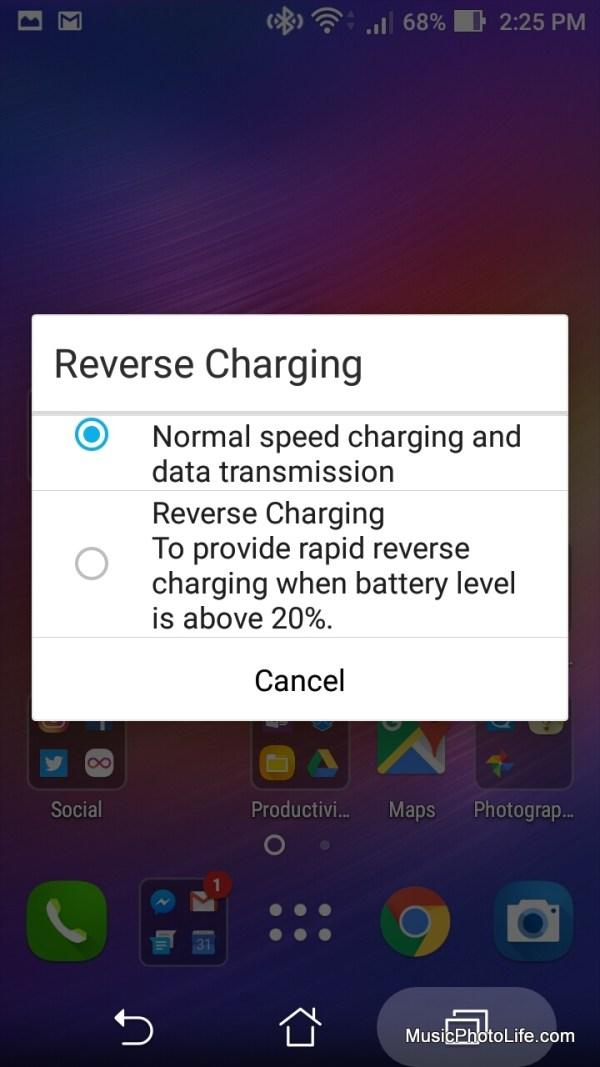 ASUS Zenfone 3 Max reverse charging screen