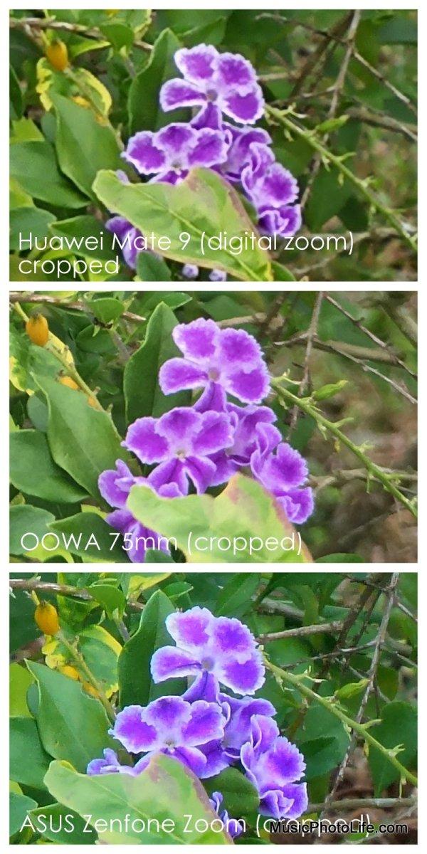 OOWA 75mm, Huawei Mate9, ASUS Zenfone Zoom comparison cropped
