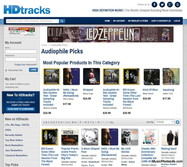 HDtracks website