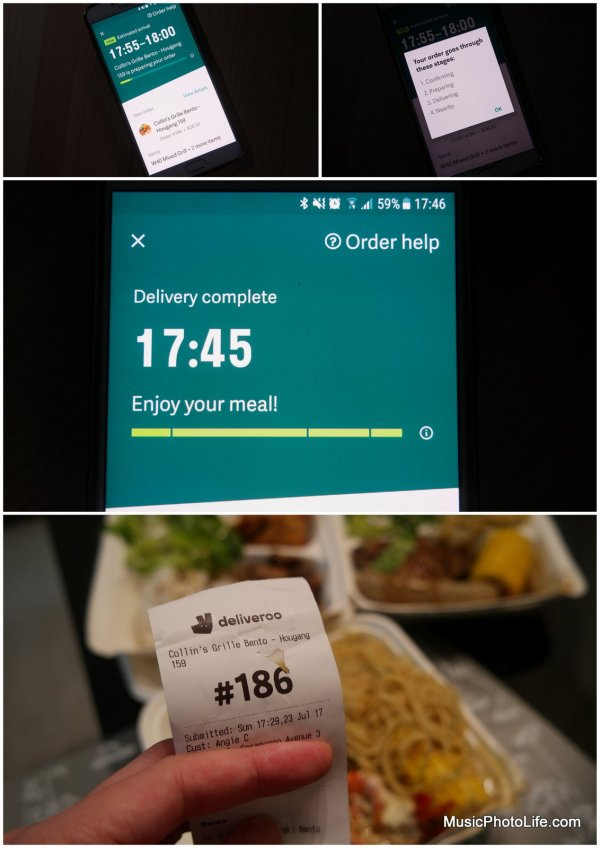 Deliveroo service in Singapore review by musicphotolife.com
