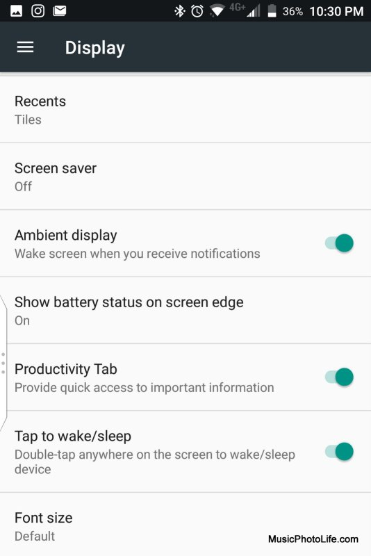BlackBerry KEYone Black Edition - Display setting screenshot
