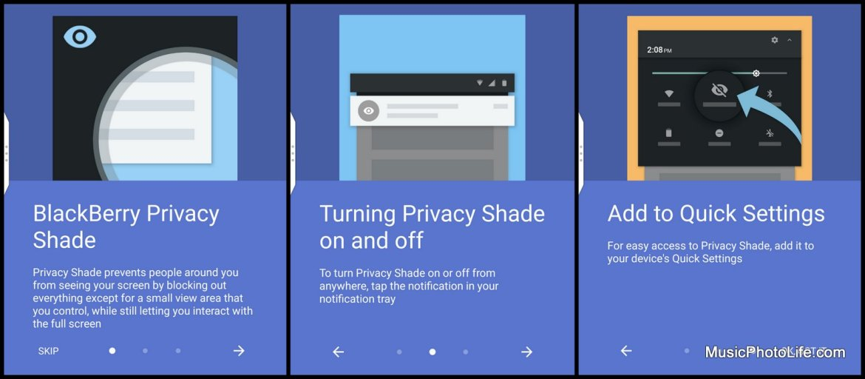 BlackBerry KEYone Black Edition - privacy shade guide