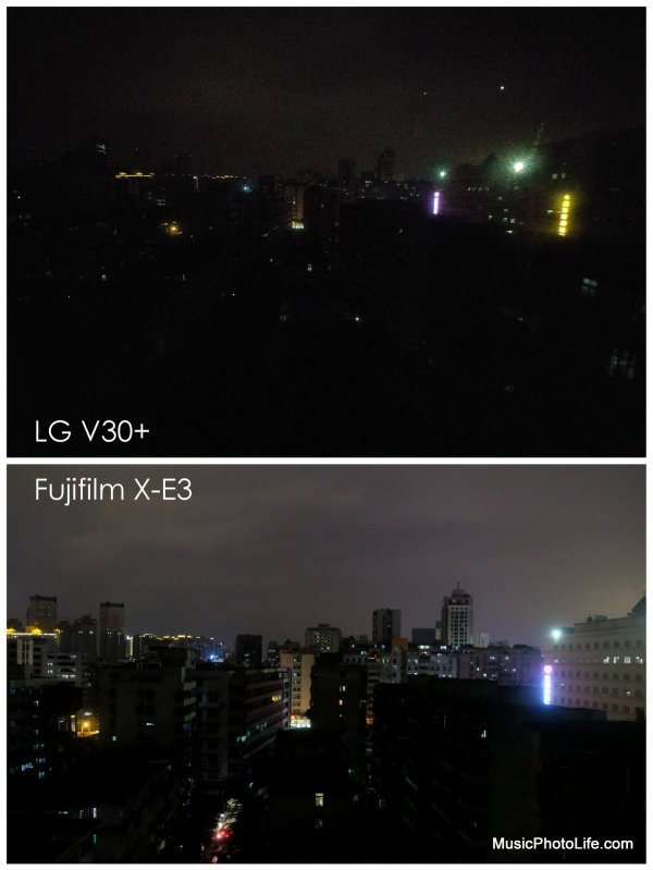LG V30+ low light sample image compares to Fujifilm X-E3 18-55mm lens