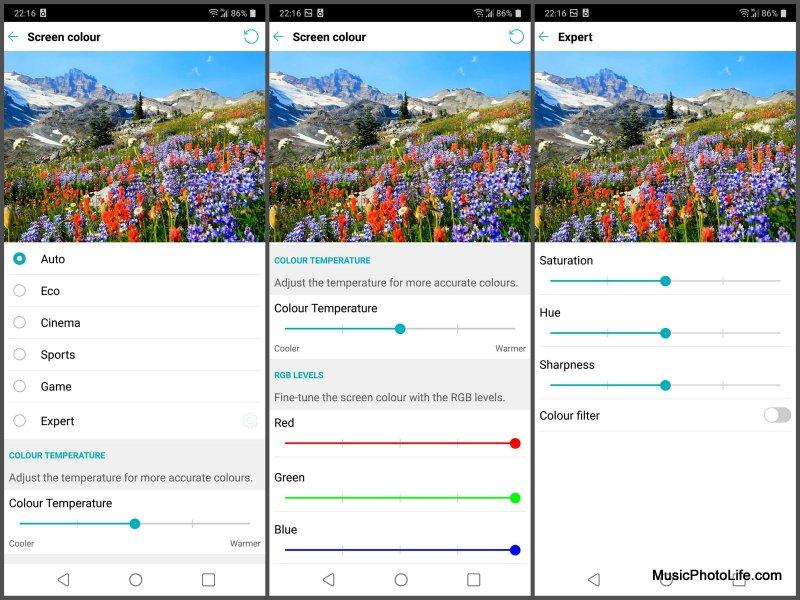 LG G7+ ThinQ display adjustment