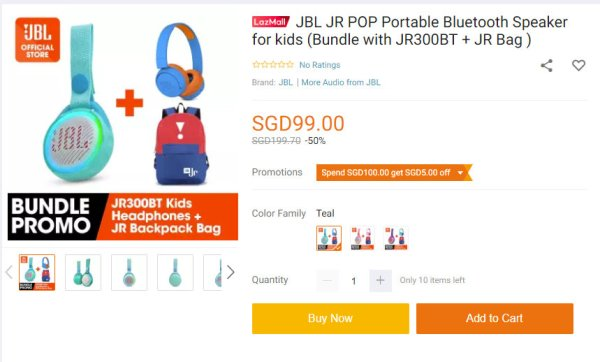 JBL JRPOP JR300BT JR Bag Bundle offer from Lazada