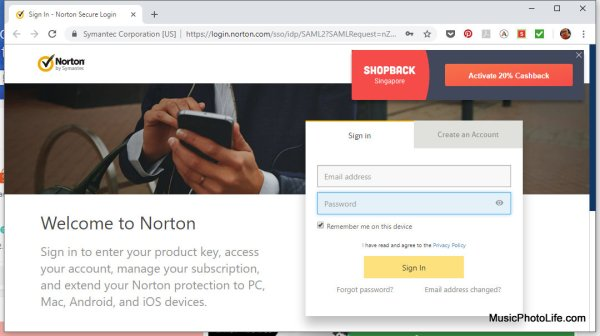 Shopback Cashback Buddy prompts on Norton website