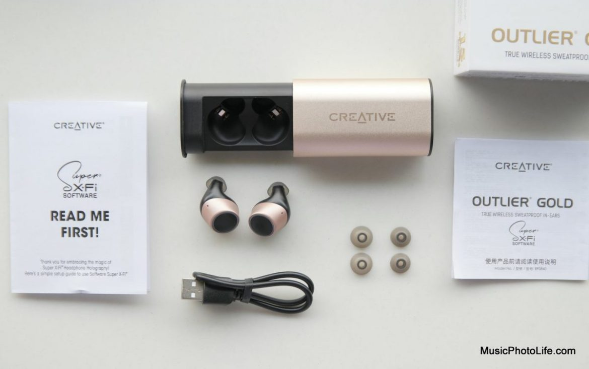 Creative Outlier Gold true wireless earphones review by musicphotolife.com, Singapore headphones review site