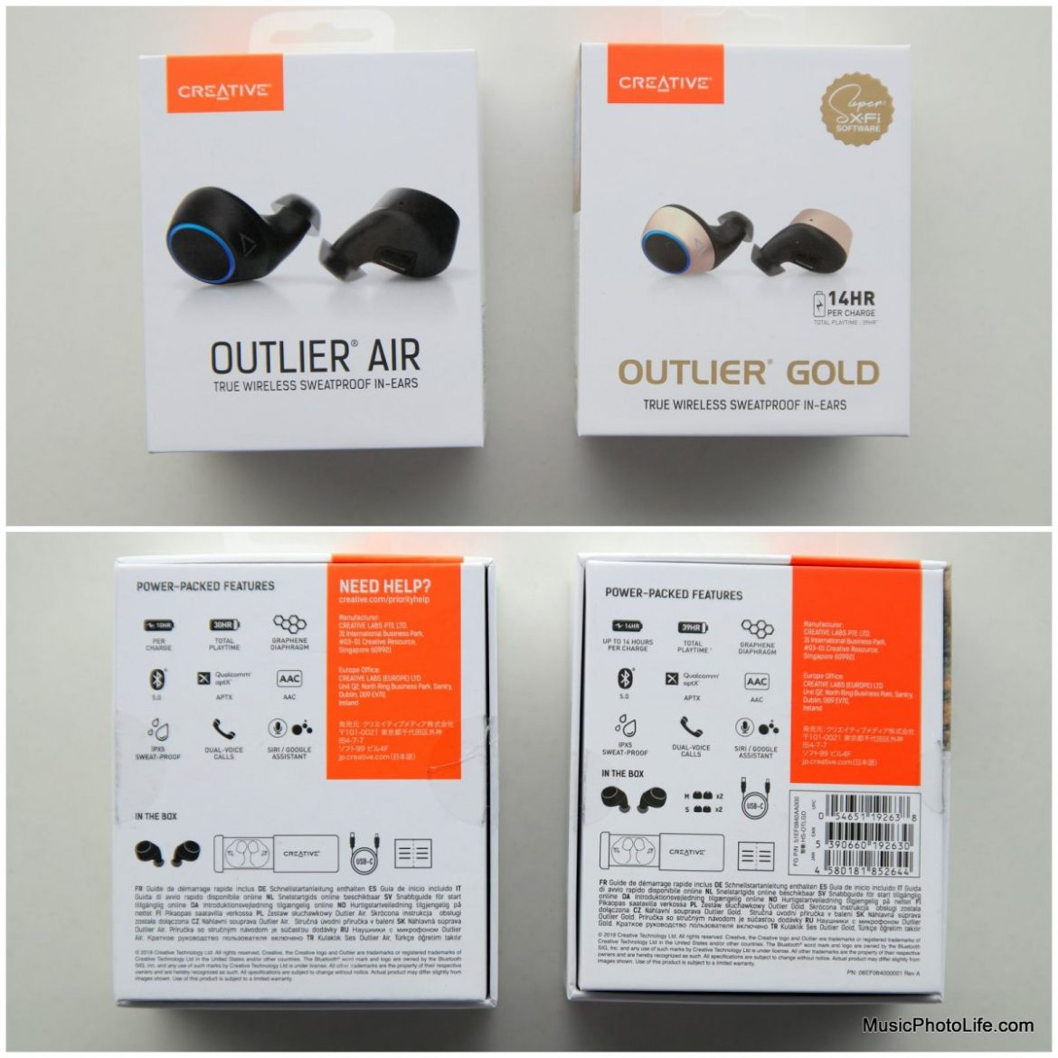 Creative Outlier Gold and Outlier Air true wireless earphones review by musicphotolife.com, Singapore headphones review site