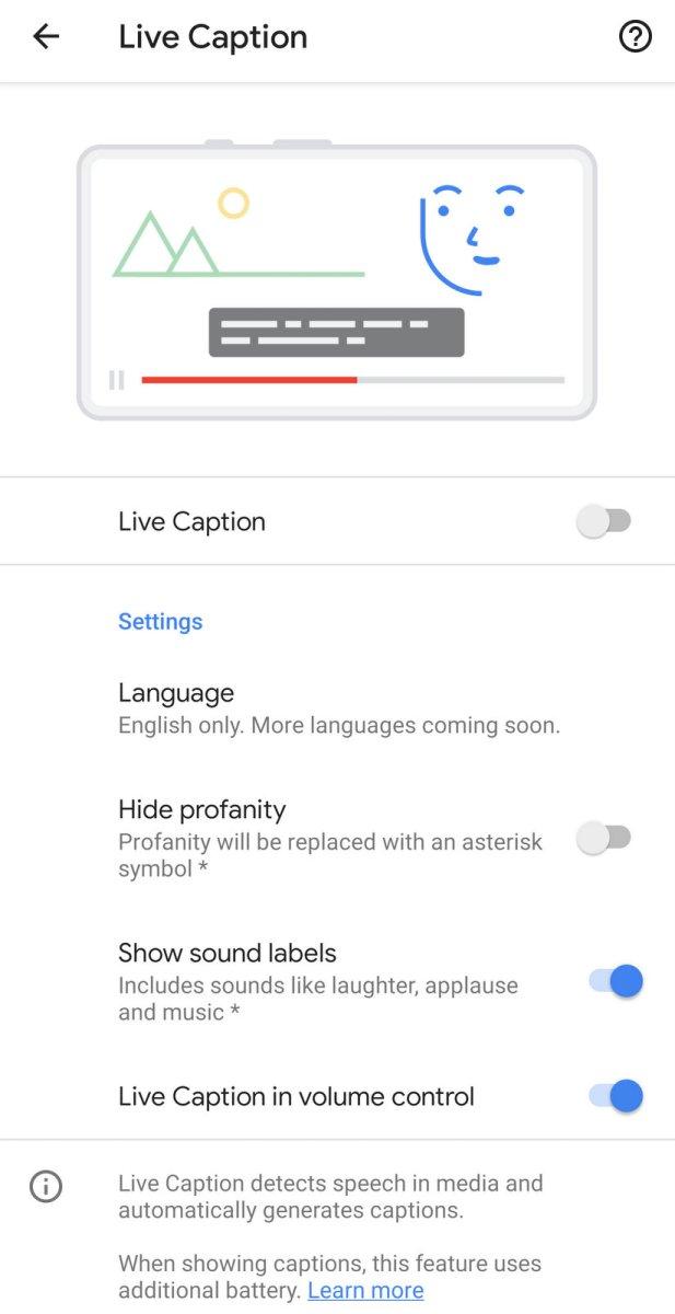 Google Pixel 4XL Live Caption