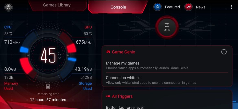 ASUS ROG Phone II gaming control app