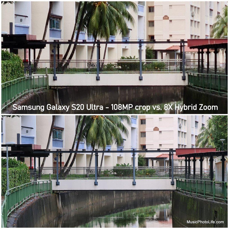 Samsung Galaxy S20 Ultra 5G vs. Galaxy S10 - 108MP crop vs. hybrid zoom