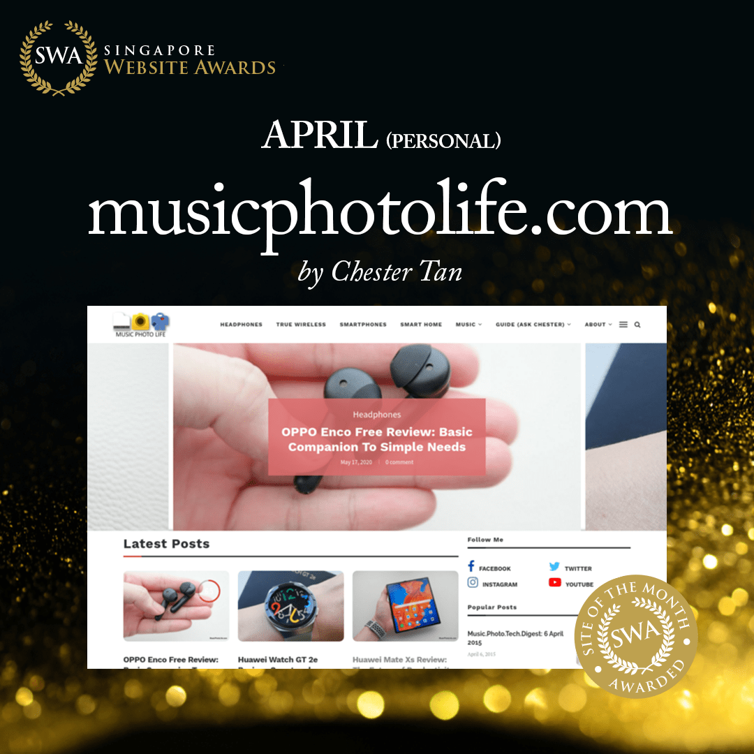 Singapore Website Awards Site of the Month 2020 April musicphotolife.com