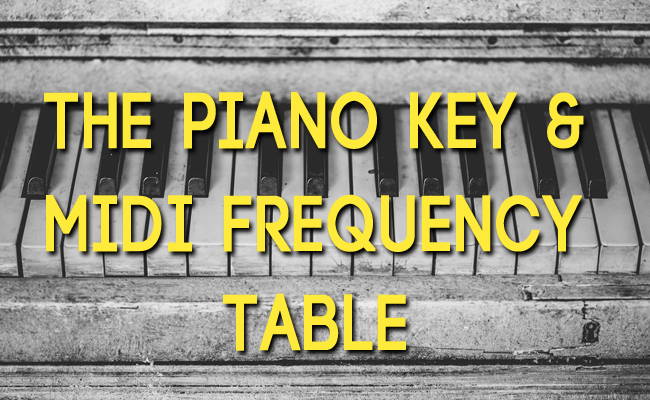 Piano Key Frequency Table