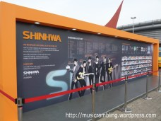 All about Shinhwa - information panels with Shinhwa's biography, discography and photos in front of the Seoul Olympic Park Stadium.