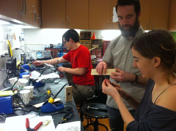 Soldering in the Electronics Workshop