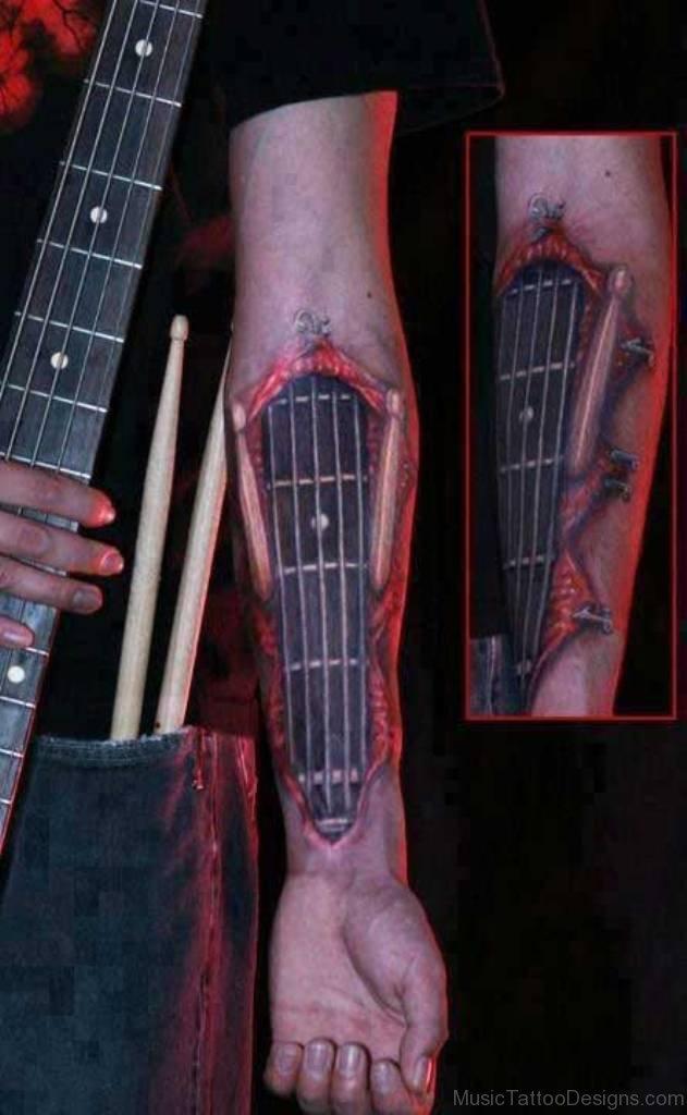 Bass Guitar Tattoo : guitar, tattoo, Elegant, Guitar, Tattoos