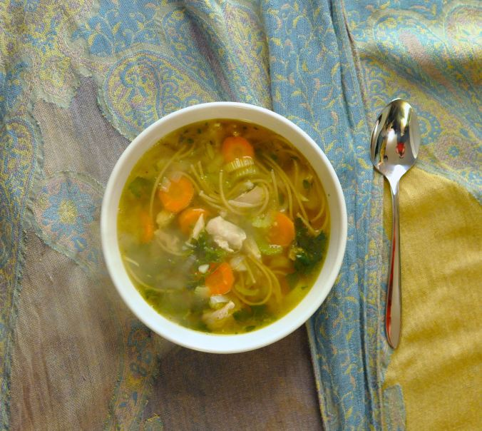 picture of steaming chicken noodle soup