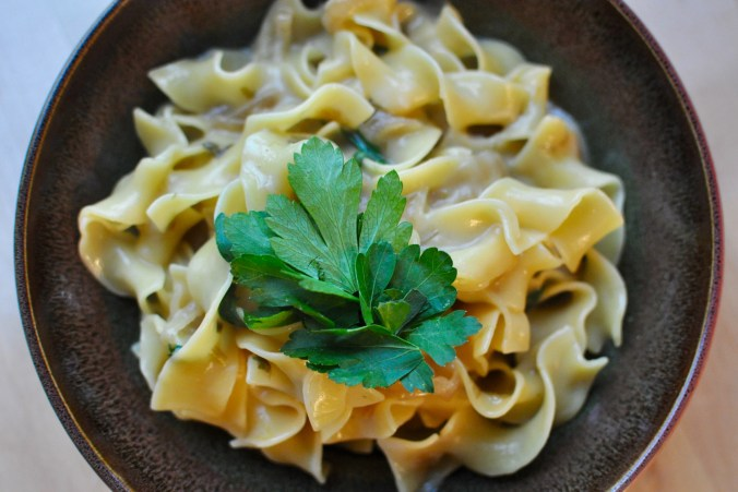Earthenware bowl full of noodles covered in a creamy caramelized onion  sauce with parsley as a garnish.