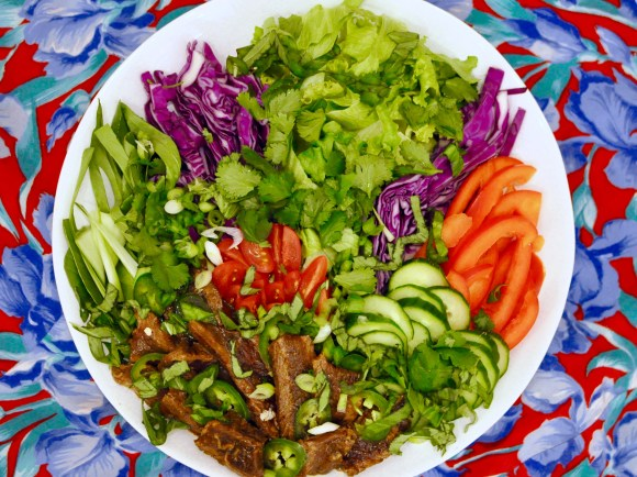 Steak salad arranged on a white plate in a colourful presentation containing purple cabbage, greens, tomatoes, red peppers, and slivered ribeye steak. On a flowery tablecloth.