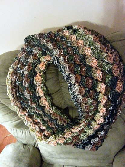Yes, another infinity scarf - heavy weight, huge hook.