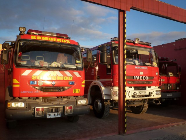 The local Bomberos in Porvenir (Chile) were happy enough to let us pitch tent behind the station