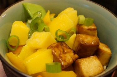 Then the mango and green onions