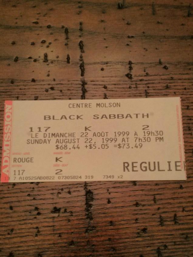 Black Sabbath concert ticket