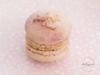 Peanut butter and jelly macaron