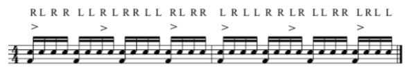 the paradiddle diddle in 16th notes
