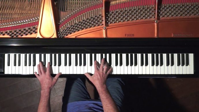 Online music lessons overhead view for piano