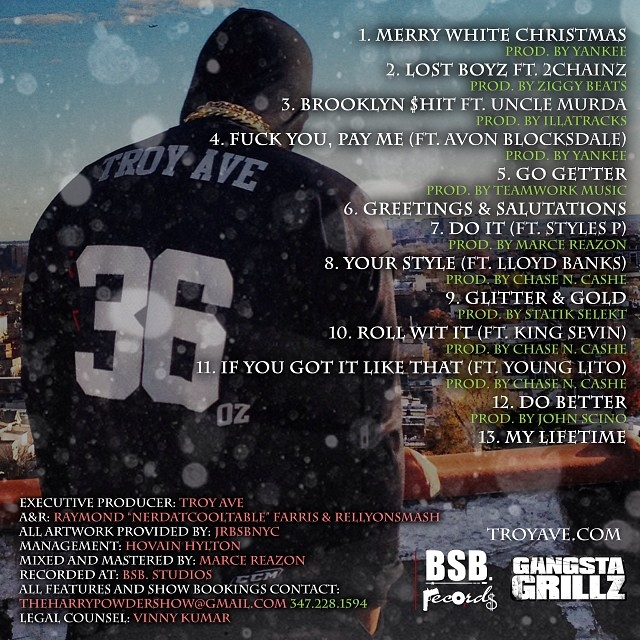 TROY AVE - WHITE CHRISTMAS 2 Tracklisting