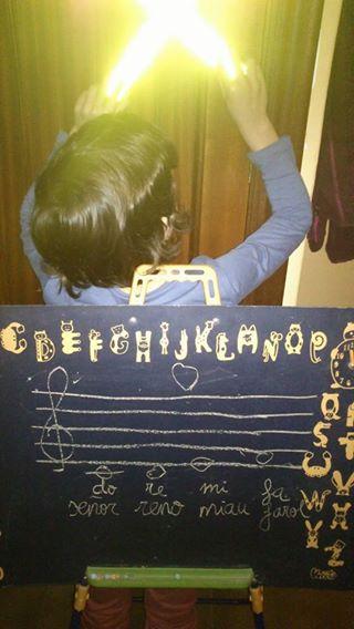 Practicando la escritura de las notas en el pentagrama.