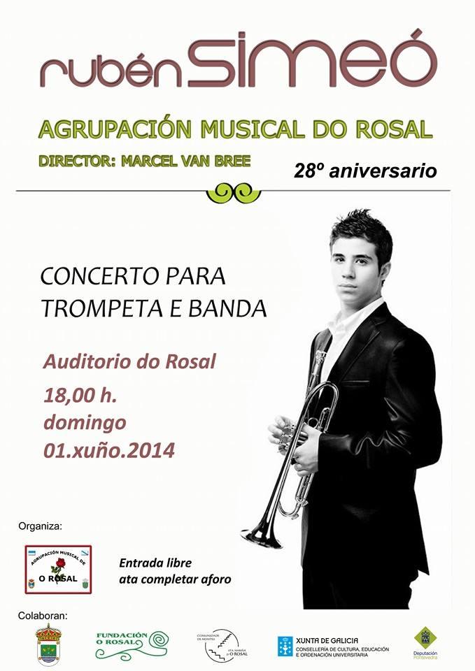 Domingo 1 de Junio, concierto de Rubén Simeó y de la Agrupación Musical de O Rosal