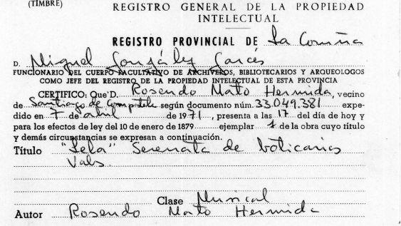Detalle del resguardo del Registro de la Propiedad Intelectual de 1977 sobre la música de «Lela» obra del maestro Rosendo Mato