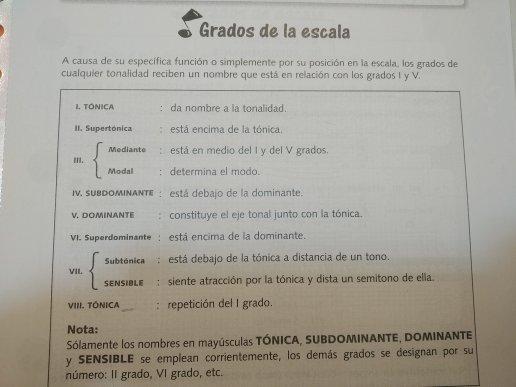 Explicación grados de la escala