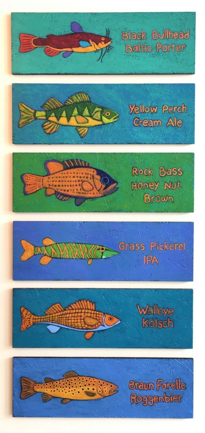 Fish paintings by Artist BZTAT representing finely crafted beers named for freshwater fish