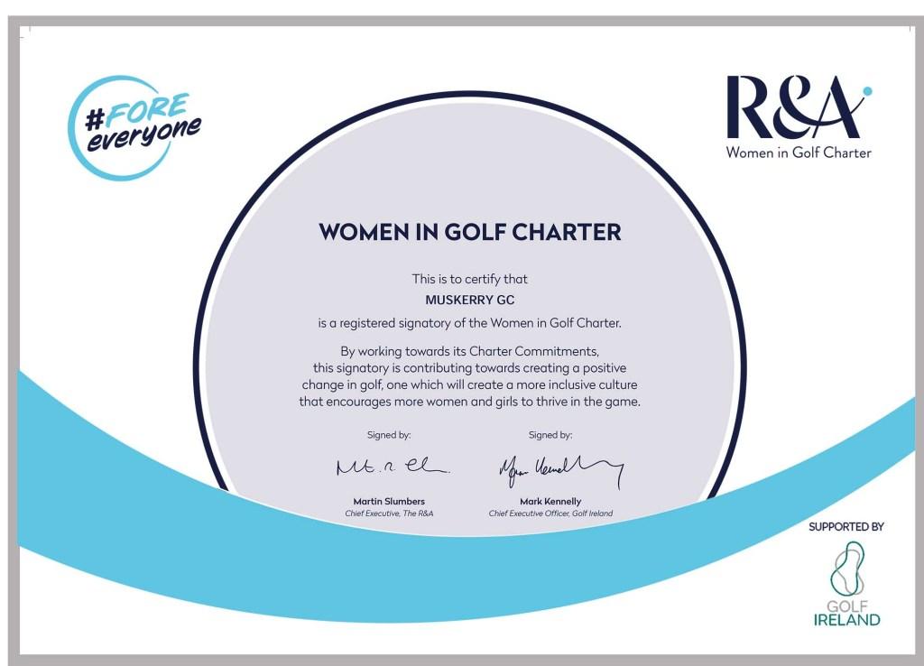 Women in Golf Certificate
