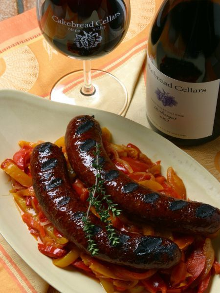 Grilled Venison Sausage With Stewed Peppers And Onions