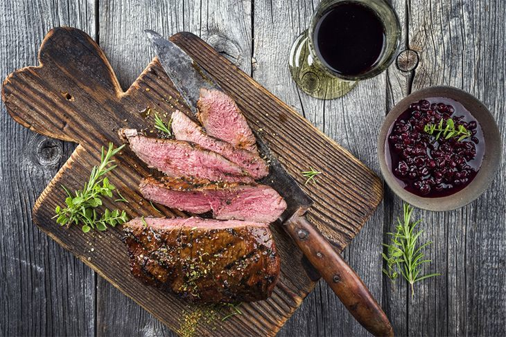 venison steak on old
