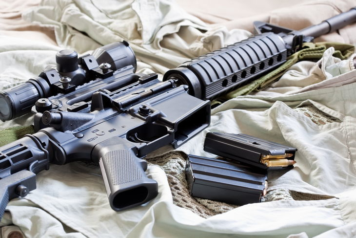 AR-15 rifle and magazines with ammo