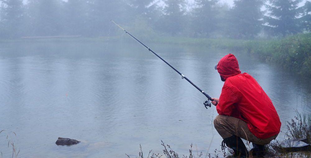 saltwater fishing in the rain