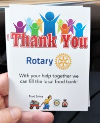 Each donor received a thank you card from Rotary.
