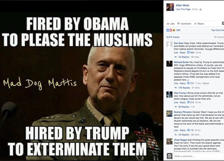 Lt. Colonel Allen West Posted About Exterminating Muslims on Social Media