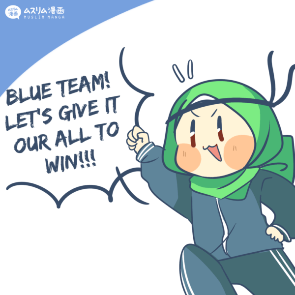 Japanese Hijabi Muslim character playing sports in comics