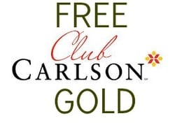 Excellent Deal on Club Carlson Gold- makes summer holidays even cheaper