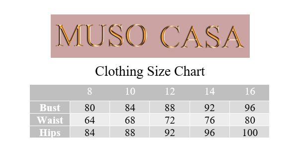 Muso Casa Clothing Size Chart