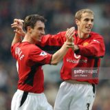 Brothers Gary and Phil Neville celebrate Man Utd's first goal of the match  Manchester United v West Ham United, Old Trafford, Manchester, 14/12/2002, Barclaycard Premiership
