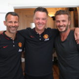 Louis Van Gaal And Ryan Giggs Meet David Beckham
