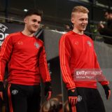 during a training session ahead of the UEFA Europa League Round of 32 match between FC Midtjylland and Manchester United at Herning MCH Multi Arena on February 17, 2016 in Herning, Denmark.