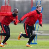 during a training session ahead of the UEFA Europa League round of 16 second leg match between Manchester United and Liverpool at Aon Training Complex on March 16, 2016 in Manchester, England.